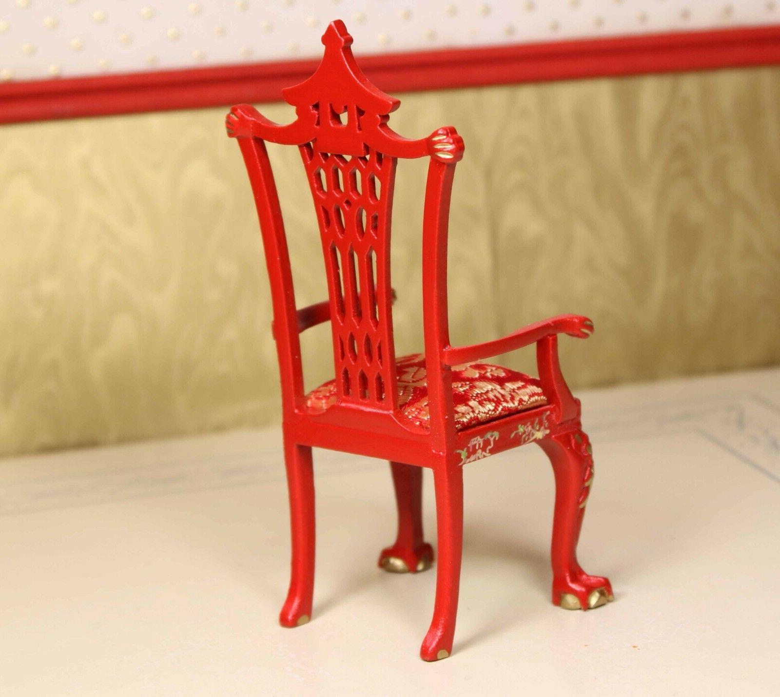 """Red Asian Dining Chair MUSEUM QUALITY DOLLHOUSE FURNITURE 1/12 or 1"""" BESPAQ"""