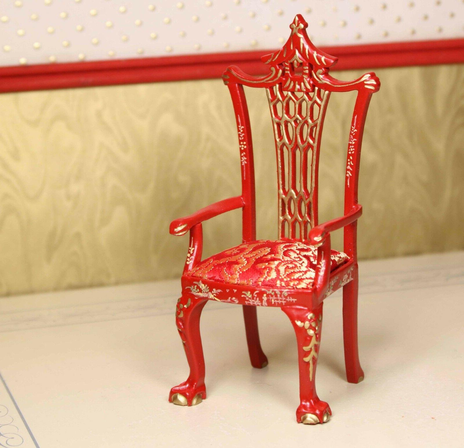 red asian dining chair museum quality dollhouse
