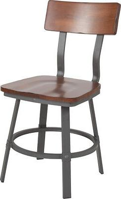Rustic Walnut Dining Chair with Wood Back/Seat & Gray Metal
