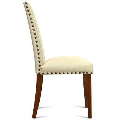 2-Set Armless Dining Chairs Fabric Kitchen Restaurant