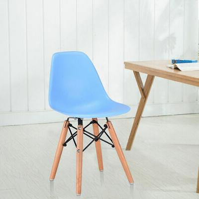 Single Kids Dining Side Armless Chair Molded Plastic Seat Wo