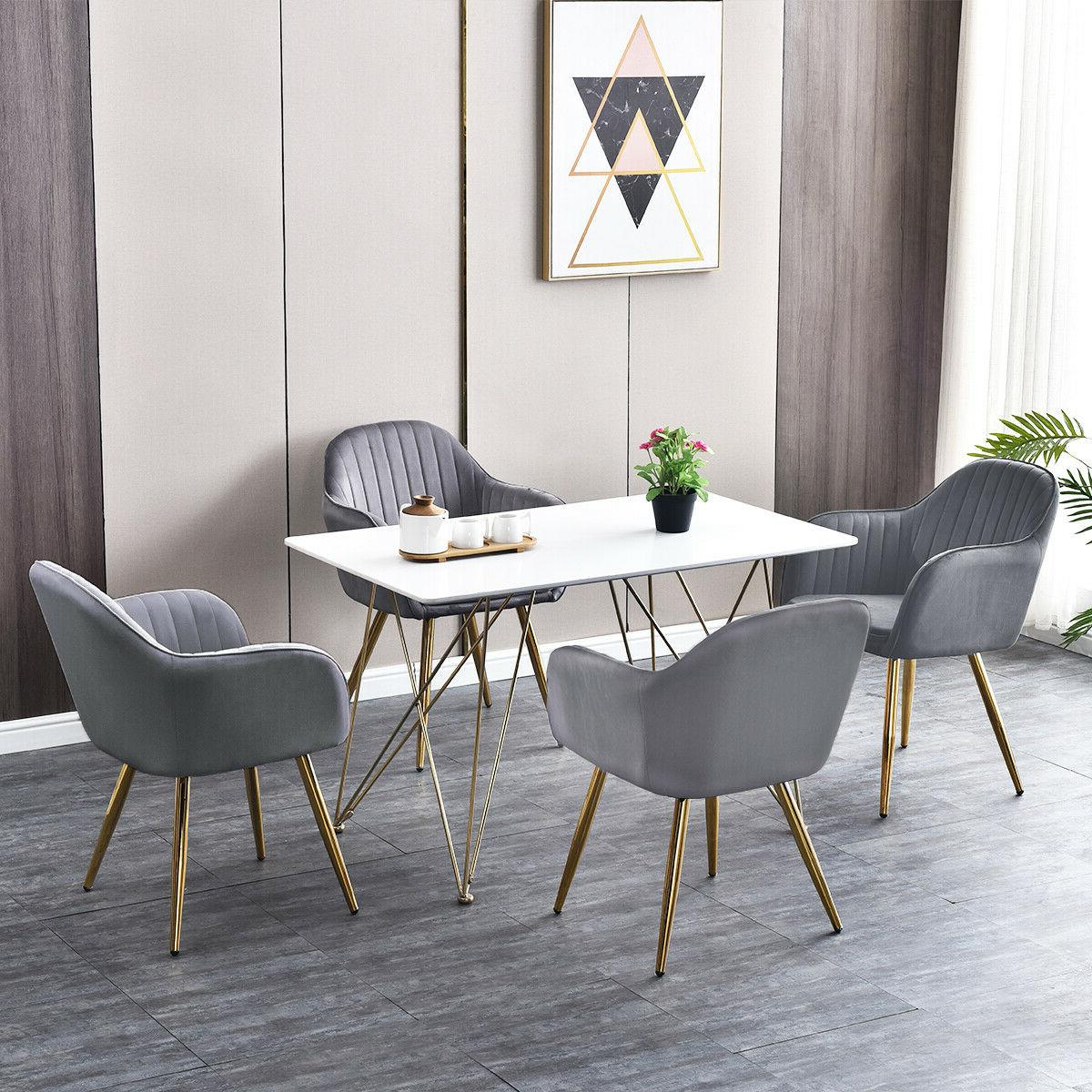 Modern Kitchen Set of 2 / 4 Dining Chairs High Back Gray Vel