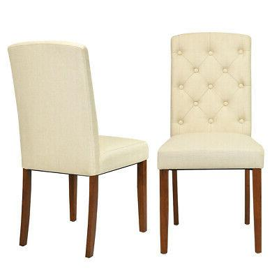 Costway Set Of 2 Accent Dining Chair Fabric Wood Tufted Mode