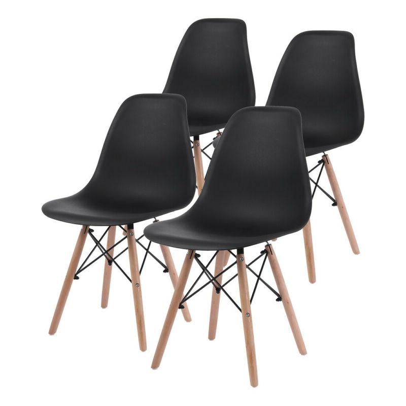 4Pcs Black Dining Chairs Mid Century Modern DSW Dining Side