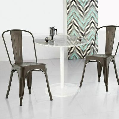Set of 4 Tolix Style Dining Chair Stackable Bistro Cafe Stool