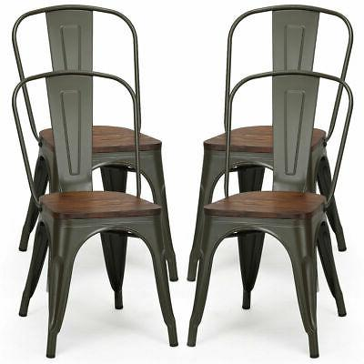 4 Pcs Metal Dining Side Chair Wood Seat Stackable Cafe Resta
