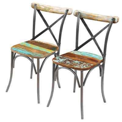 vidaXL Solid Reclaimed Wood Dining Chairs 2/4/6 Cross Back
