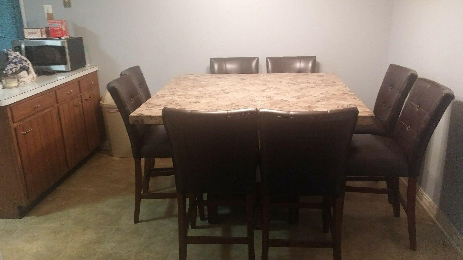 Used 9Pc Counter Height Table With Faux Marble Top and 8 Hig