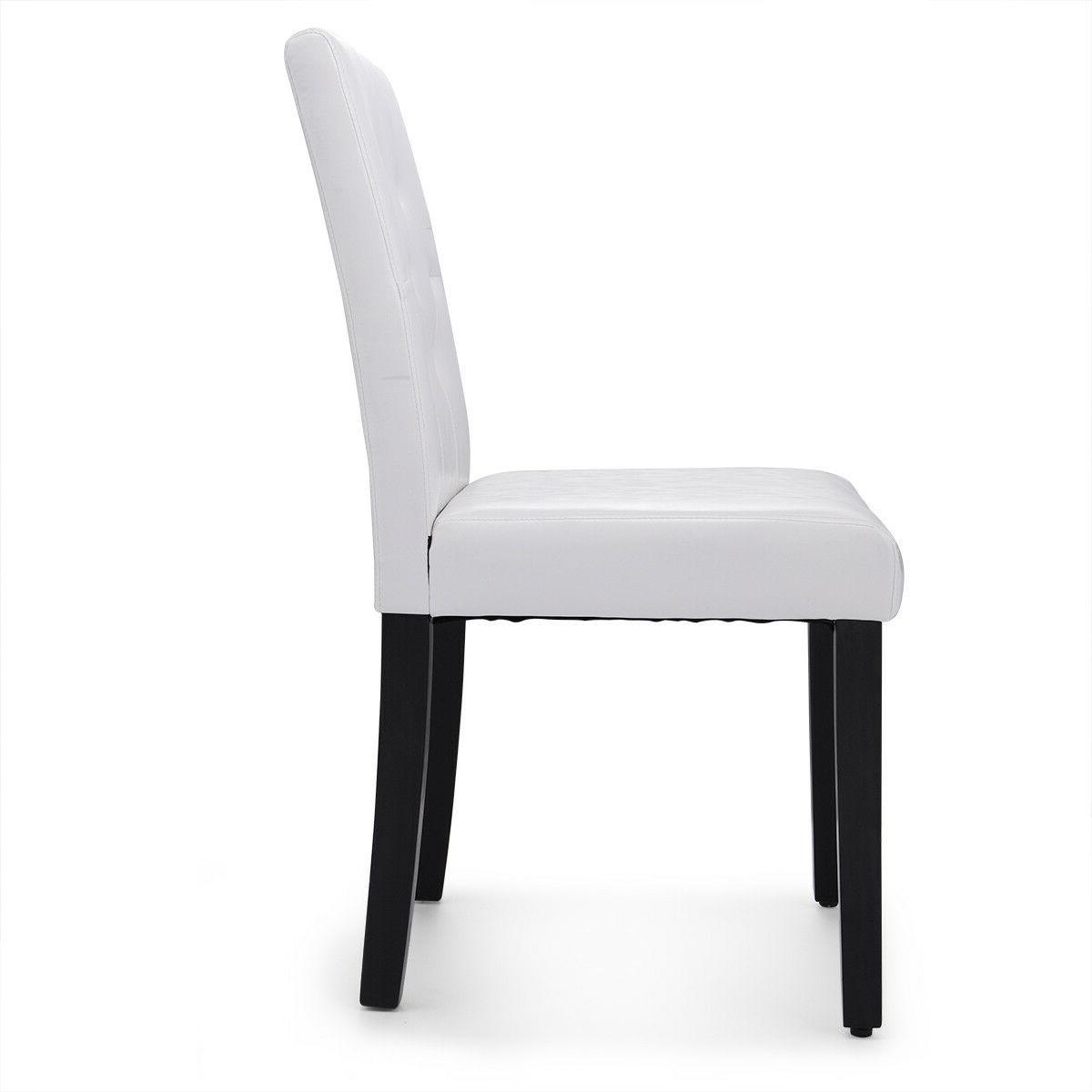 2/4/6Pcs Dining Chair Kitchen Pine White Leather