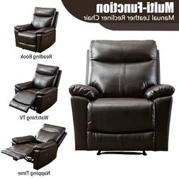 Leather Recliner Chair Padded Durable For Living Room Ergono