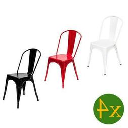 4pcs Metal Dining Chair Stackable Bistro Cafe Side Stool Ret