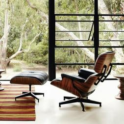 Eames Lounge Chair and Ottoman- 100% Genuine Leather BLACK L