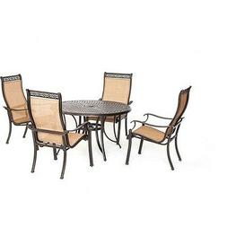 Manor 5pc Dining Set - One 48 inch Round Cast Table, 4 Sling