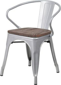Metal Chair with Wood Seat and Arms