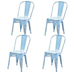 Metal Dining Chair Stackable Side Chairs Bar Chairs with Bac