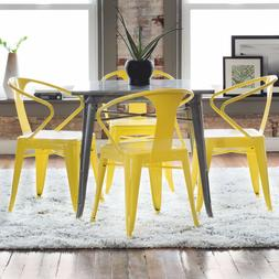 Metal Stackable Chairs Dining Room Yellow Set of 4 Industria