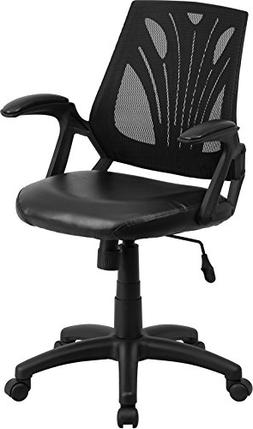 Mid Back Black Mesh Swivel Task Chair with Leather Padded Se