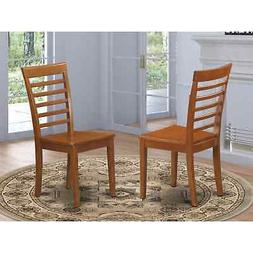 Set of 2 Milan dinette kitchen dining chairs w/ plain wood s