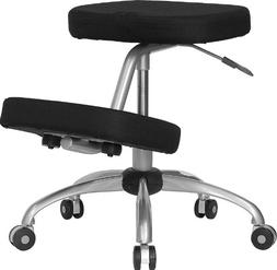 Mobile Ergonomic Kneeling Chair in Black Fabric with Silver