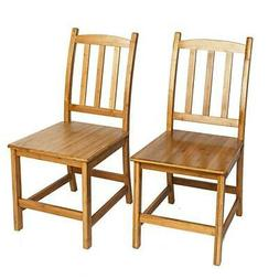 Modern 2pcs Bamboo Dining Chairs  330 lbs Weight Capacity Se