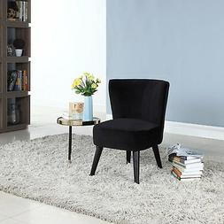 Modern Decorative Velvet Chair with Low Frame, Wooden Legs,