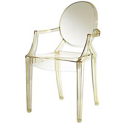 Modern Ghost Chair with Arms in Transparent Crystal Yellow D