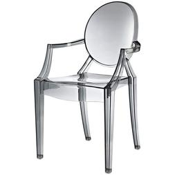 Modern Ghost Chair with Arms in Transparent Crystal Smoke Di