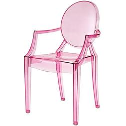 Modern Ghost Chair with Arms in Transparent Crystal Pink Din