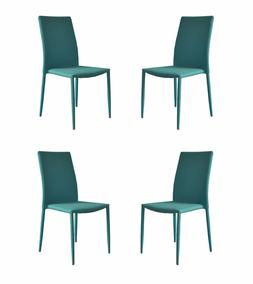 Set of 4 Piece Modern and Sleek Fabric Dining Room Chairs, A