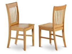 East West Furniture NFC-OAK-W Dining Chair Set with Wood Sea