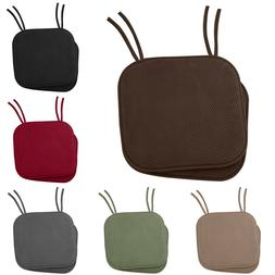"""Non Slip Memory Foam Chair Cushion Pads with Ties - 17"""" x 16"""