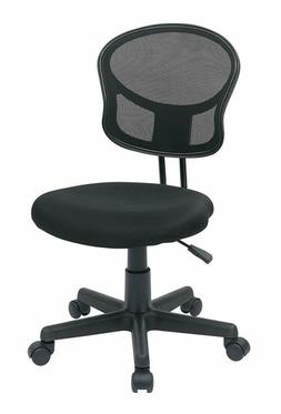 Office Star Mesh Back Armless Task Chair with Padded Fabric