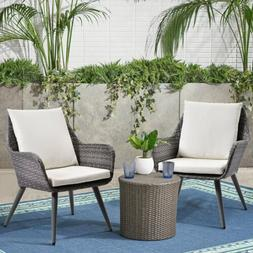 Outdoor Wicker Dining Chair PE Rattan Accent Chair w/ Beige