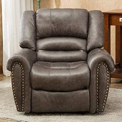 Oversized Leather Cover Recliner Nailhead Lounge Chair for L