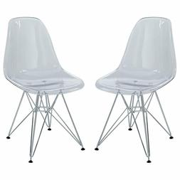 Modway Paris Mid-Century Modern Side Chairs with Steel Metal