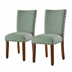 HomePop Parsons Accent Dining Chair with Nailheads, Set of 2