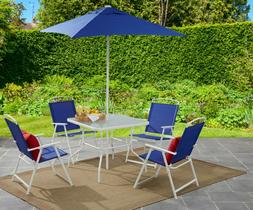 Patio Dining Set Table with 4 Chairs and Umbrella Outdoor Ba
