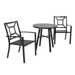 Patio Garden Outdoor Dining Chairs Set of 3 All Weather Iron
