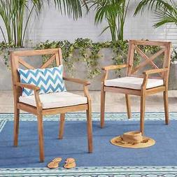 Perla Outdoor Acacia Wood Dining Chair  by