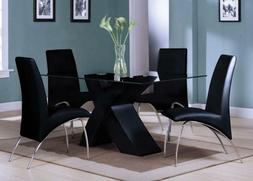 Acme Furniture Pervis Black And Chrome 6 Piece Dining Set 71
