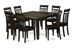 East West Furniture PFCA9-CAP-W 9-Piece Dining Table Set, Ca