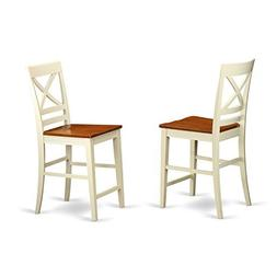 QUS-WHI-W Quincy Counter Height Stools With X-Back in Butter