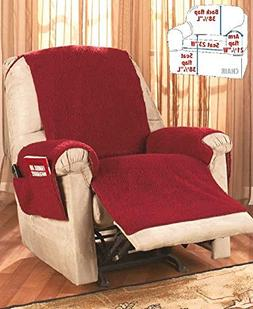 Recliner Chair Cover One Piece w/Armrests and Pockets - One