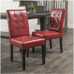 Red Bonded Leather Dining Chairs Christopher Knight Set 2 Fu