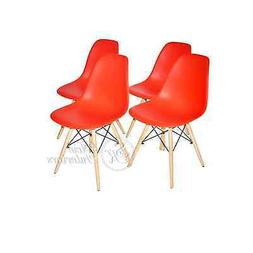 Red Plastic Molded Side Dining Chairs Modern with Natural Wo