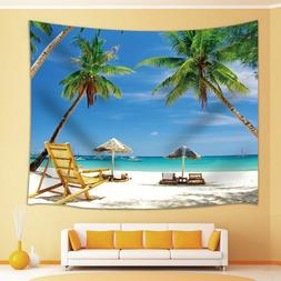 Rocking Chair under Coconut Tree Tapestry Wall Hanging for L