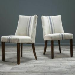 Rydel Blue Stripe Fabric Dining Chairs