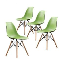 Buschman Set of Four Green Eames-Style Mid Century Modern Di