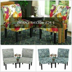 Set of 2 Armless Dining Accent Chair Fabric Upholstered Tuft