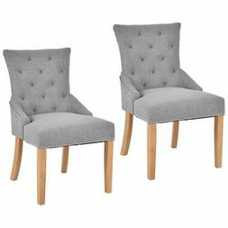 Set Of 2 Armless Dining Chairs with Elegant Tufted Design Fa